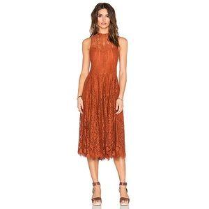FP Orange Lace Trapeze Midi Dress XS D-8